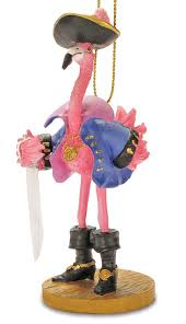 tropical pirate pink flamingo ornament