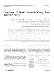 optimization of hybrid renewable energy power systems a review