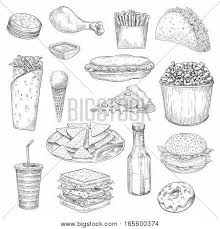 fast food sketch icons vector vector u0026 photo bigstock
