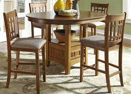 Oak Bistro Table Rosa Pub Table 3 Dining Set In Mission Oak Finish By Liberty