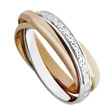 two colour gold sparkle cut russian wedding ring