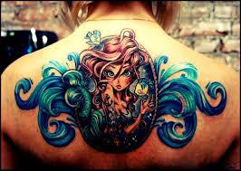 ariel siren upper back tattoo mermaids and sirens pinterest