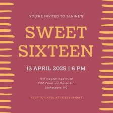 pink and orange brush lines sweet 16 invitation templates by canva