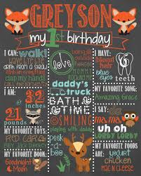 1st birthday chalkboard woodland birthday chalkboard fox birthday chalkboard boy