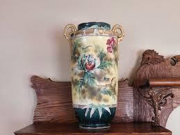 Nippon Hand Painted Vase Nippon Monumental Nippon Moriage Floor Vase Porcelain Hand Painted