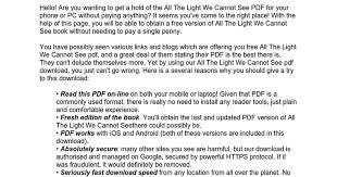 The Light We Cannot See All The Light We Cannot See Pdf Google Docs