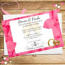 wedding invitations rose 10 personalised pink rose petals wedding invitations day evening n53