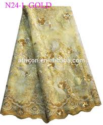 n24 2 green african beads and sequins french lace fabric net