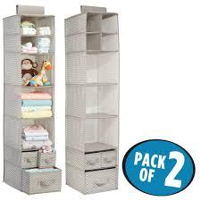 mdesign fabric baby nursery closet organizer for stuffed animals