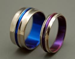blue titanium wedding band titanium wedding band set purple wedding ring mens ring