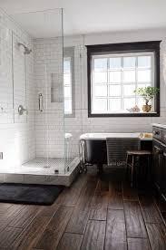 subway tile bathroom floor ideas wood tile floor white subway tile with grout black window