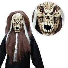 Skull Mask Halloween Long Hair Skull Reaper Demon Mask Zombie Horror Halloween Diablo