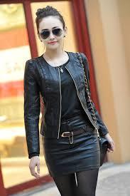 ladies short biker boots black spring women leather clothing female short design black