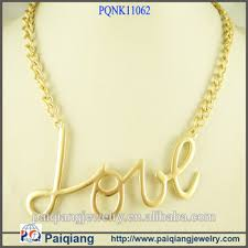 gold love pendant necklace images Top design gold chain love letter casting pendant necklace yiwu jpg