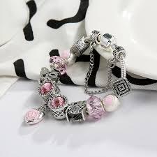color charm bracelet images New arrival pink color charm bracelet first my mom heart dangles jpg