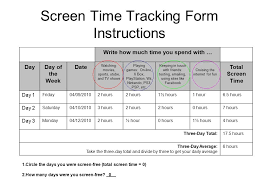pre lesson tracking screen time screen time tracking form