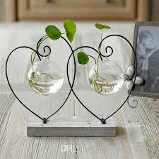 Decorate Flower Vase Wood Pad Flower Vases Home Decoration Glass Vases Pots Iron Shelf