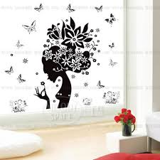 Beautiful Wall Stickers For Room Interior Design Aliexpress Com Buy Black Butterfly Flower Women Head Wall