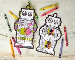crayon valentines robot coloring with crayon holder unique non