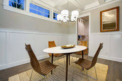 small empty dining room interior in old craftsman style home stock