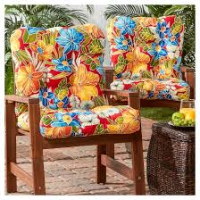 set of 2 outdoor seat back chair cushions aloha red greendale