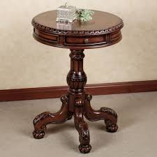 fancy varnished teak wood small round accent table with carving