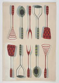 artwork design for textiles kitchen utensils circa 1950s