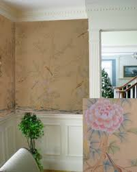 hand painted wallpaper chinoiserie wallpaper silk wallpaper