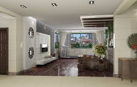 chinese living room decorated brick wall interior design