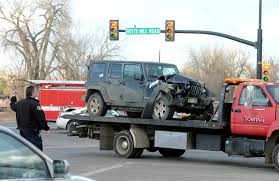 crashed jeep wrangler six transported to boulder community hospital following 2 car