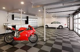 garage design ideas with cabinet and hanger compartment for the garage design ideas decorated with contemporary style using industrial ceiling style and black grey tile flooring