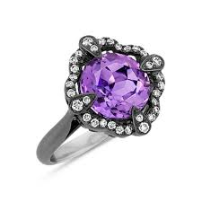 black and purple engagement rings amethyst and ring with black rhodium shane co