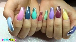 acrylic nails coffin nails chrome tip multicolour gel polish