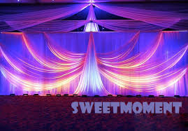 wedding backdrop for sale 2 pieces white luxury table skirt with drape for wedding table