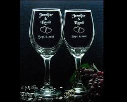 wine glasses for wedding custom engraved wedding wine glasses includes couples name and