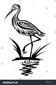 heron bird silhouette style environment design stock vector