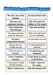 english worksheet past perfect memory game for my students