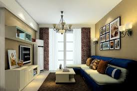 3d simple european style living room with blue couch 3d house