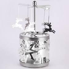 carousel rotary candle holder silver reindeer
