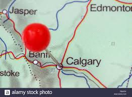 Calgary Canada Map by Close Up Of A Red Pushpin In A Map Of Calgary Canada Stock Photo