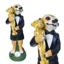 new cinema oscar meerkat led solar light garden ornament