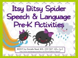 itsy bitsy spider speech language pre k activities by sublime speech