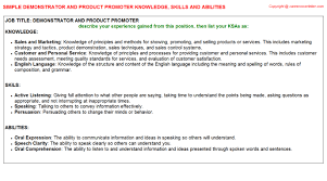 Promoter Resume Example by Demonstrator And Product Promoter Knowledge U0026 Skills