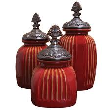 red kitchen canister part 29 amazon com set of 3 rustic red
