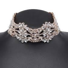 choker necklace jewelry images Holylove gold silver hollow floral bling cheap wedding bridal jpg