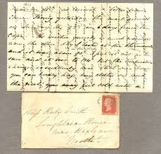 envelope with letter showing cross writing