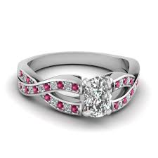sapphire accent engagement rings cushion cut twist pave accented engagement ring with pink