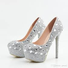 Wedding Shoes Size 9 Glitter Wedding Shoes 2017 Crystals Beads Pumps High Heels Bridal