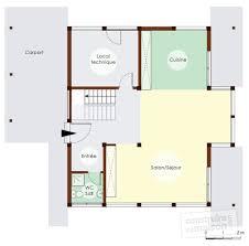 plan maison en u ouvert maison éco énergétique à ossature bois détail du plan de maison