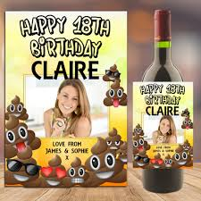 champagne bottle cartoon personalised emoji poo happy birthday wine champagne bottle photo